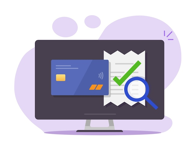 Audit online payment of invoice bill verify vector, tax financial research on computer pc