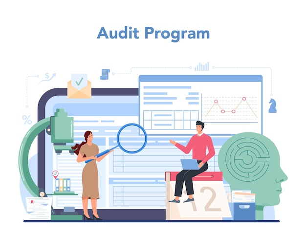 Audit online service or platform. business operation research and analysis. p