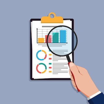 Audit research vectors icon, financial report data analysis, analytics accounting concept with charts and diagrams