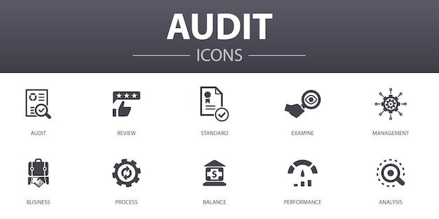 감사 간단한 개념 아이콘을 설정합니다. 검토, 표준, 검사, 프로세스 등과 같은 아이콘이 포함되어 있으며 웹, 로고, ui/ux에 사용할 수 있습니다.