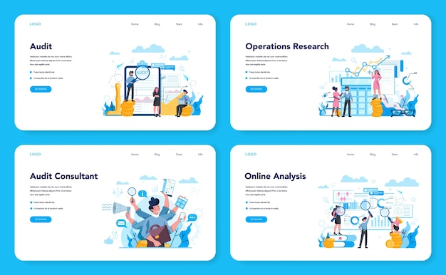 Audit web landing page set. business operation research