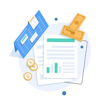 監査とビジネス分析の概念、税務プロセスの監査、フラットなデザインの図