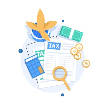 監査とビジネス分析の概念、税務プロセスの監査、フラットなデザインの図 Premiumベクター