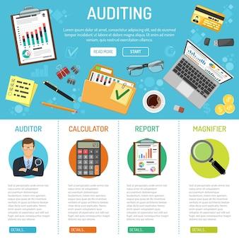 フラットスタイルのアイコンフォルダ、ラップトップ、チャート、文房具を備えた監査、税務、ビジネス会計のバナーとインフォグラフィック。孤立したベクトル図