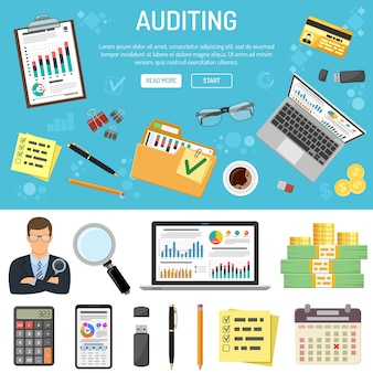 Auditing, tax, business accounting banner and infographics with flat style icons folder, laptop, charts and stationery. isolated