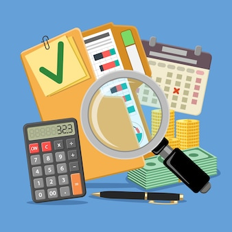 Аудит, налоги, бухгалтерский учет баннер. увеличительное стекло и папка с проверенными финансовыми отчетами, калькулятором, календарем и деньгами. плоские иконы стиля. изолированные