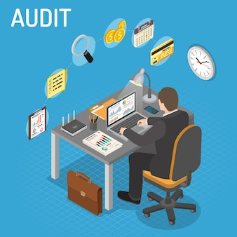 Auditing, tax process, accounting isometric concept