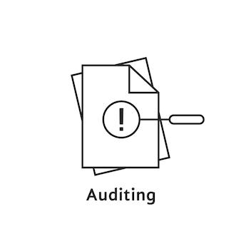 細い線のドキュメントによる監査。監査人、ファックス、seo、精査、年次検証、評価、情報、感嘆符の概念。白い背景の上のフラットスタイルのロゴタイプデザインベクトルイラスト