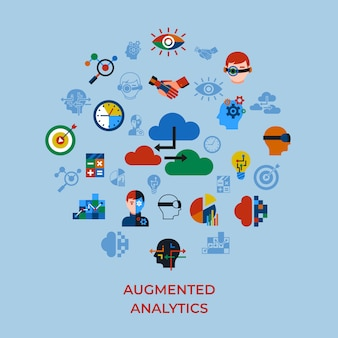 Augmented analytics and innovation technology icons set