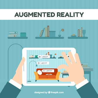 Augmented reality background in flat style