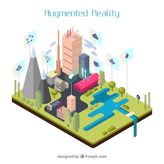 Augmented reality background in isometric style