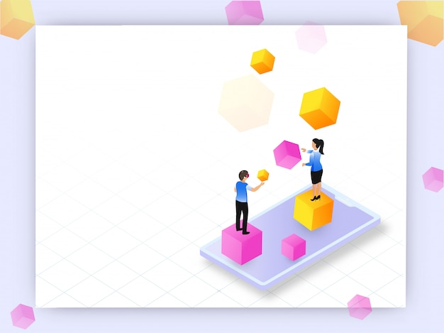 Augmented reality concept based web template design, isometric s