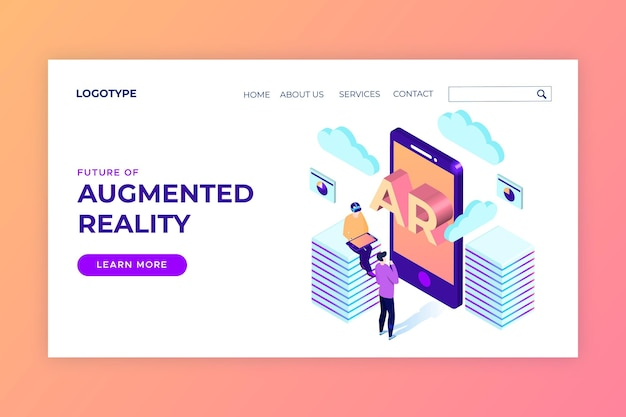 Augmented reality concept landing page template