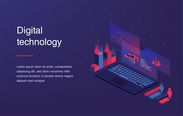 Augmented reality concept. smart city technology. landing page template