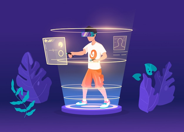 Augmented reality concept with character. virtual reality technology smart gaming.