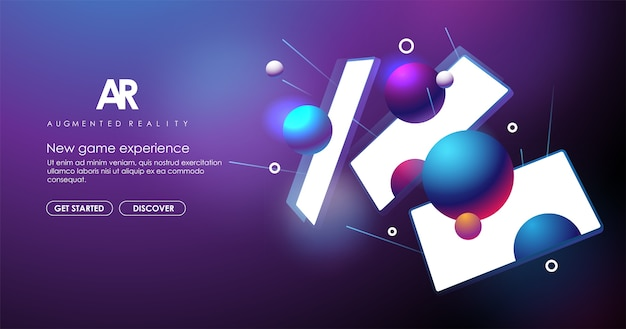 Augmented reality creative banner. ar technology concept for web and app. concept with abstract background.