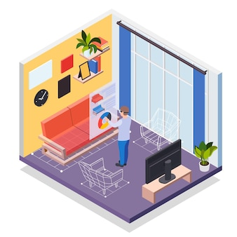 Augmented reality furniture isometric concept with man in vr headset simulating his presence in virtual living room