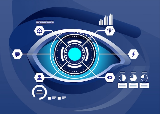 Augmented reality and future biotech technology concept. futuristic hologram over eye looking at virtual graphics. illustration