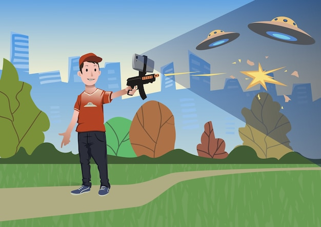 Игры с дополненной реальностью. мальчик с пистолетом ar играет в стрелка. игровое оружие с мобильным телефоном. иллюстрация в плоском стиле.