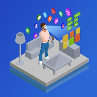 Augmented reality glases symbols isometric oster