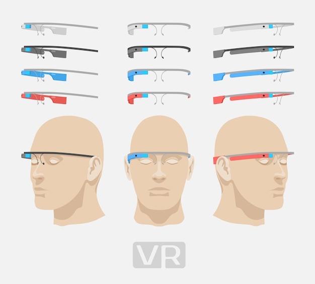 Augmented reality glasses of different colors.