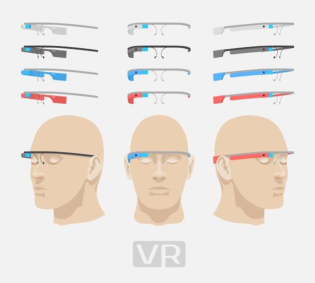 異なる色の拡張現実感メガネ。