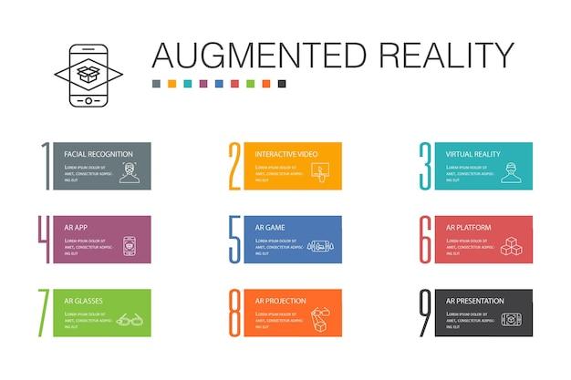 拡張現実インフォグラフィック10オプションラインの概念。顔認識、arアプリ、arゲーム、バーチャルリアリティのシンプルなアイコン