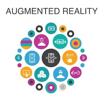 증강 현실 infographic 원 개념입니다. 스마트 ui 요소 안면인식, ar 앱, ar 게임, 가상현실