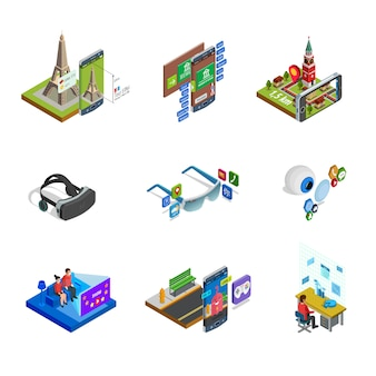 Augmented reality isometric icons set