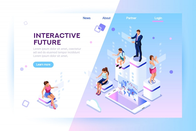 Augmented reality isometric landing page
