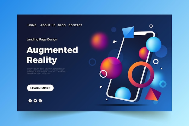 Augmented reality landing page template