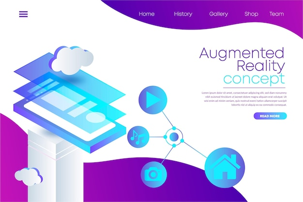 Augmented reality landing page web template