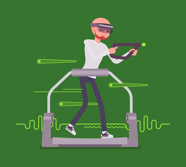 Augmented reality man with aim controller on gaming treadmill