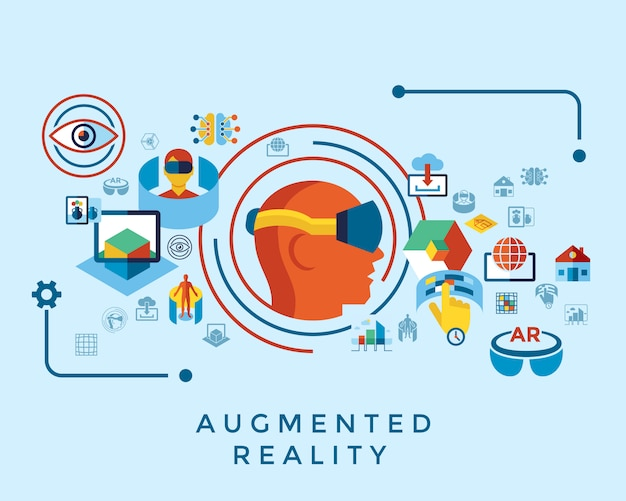 Augmented and virtual reality icons collection