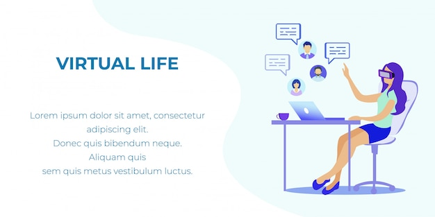 Augmented and virtual reality in life flat banner