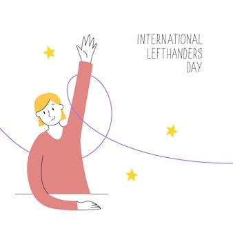 8月13日、国際左利きの日。ハッピー左利きの日。あなたの左利きの友人をサポートします。座っている女の子が誇らしげに左手を上げます。イラスト、モダンなラインスタイル