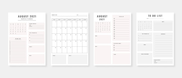 August 2021  planner modern planner template set set of planner and to do list monthly weekly daily planner template vector illustration
