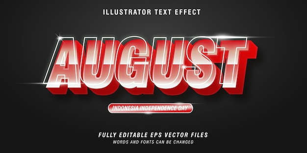 August 3d text style effect, indonesia independence day