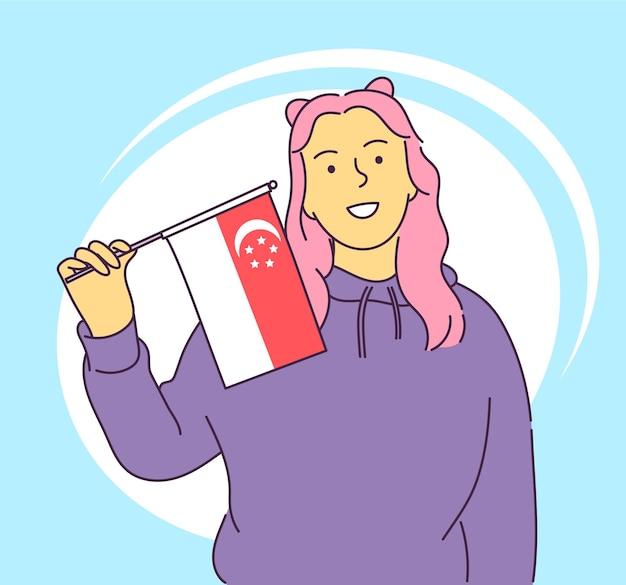 8月9日シンガポール国民の日シンガポールの旗のベクトル図を保持している幸せな少女