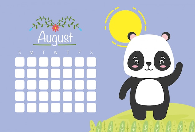 August calendar with cute panda, flat style