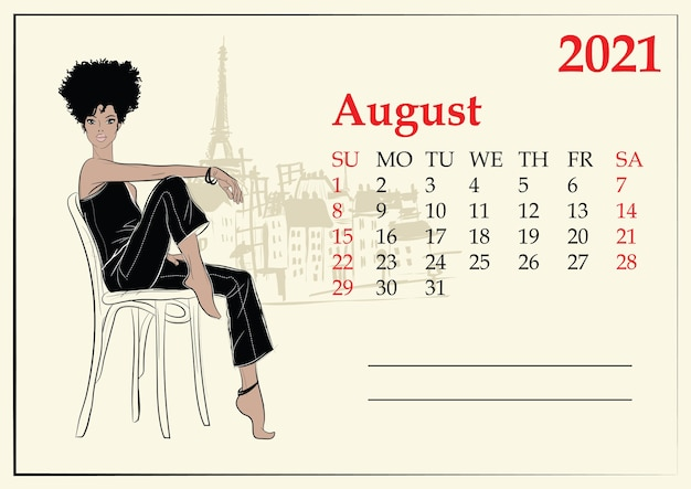 August.  calendar with fashion girl in sketch style.