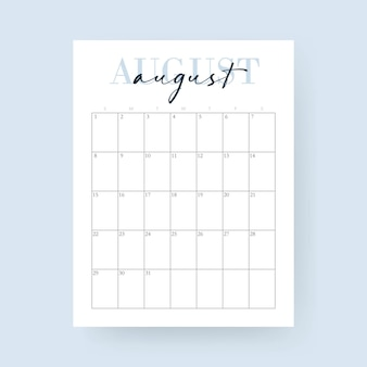 August month. 2021 calendar. layout for 2021 years. week starts from sunday. wall calendar template