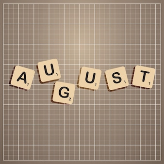 August month cut out letters stick on information board