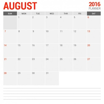 August monthly calendar 2016