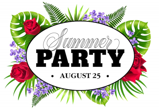 Agosto venticinque volantino festa estiva con foglie esotiche, lilla e rose.