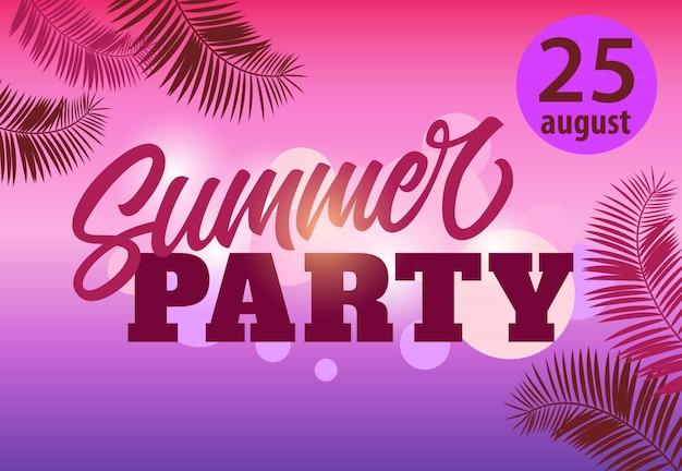 Agosto venticinque, festa d'estate, modello di volantino con foglie di palma su magenta e viola