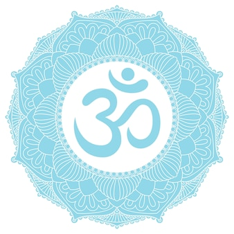 Символ aum om ohm в декоративном круглом украшении мандалы.
