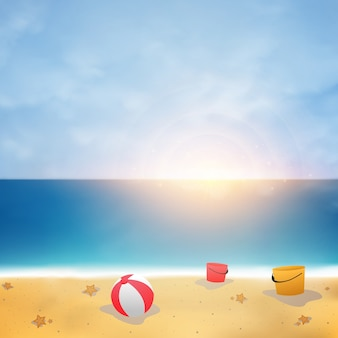 Aummer background on blue sky beach with sunny burst.