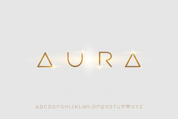 Aura, an abstract futuristic alphabet font with technology theme. modern minimalist typography design