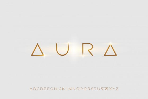 オーラ、技術をテーマにした抽象的な未来的なアルファベットフォント。モダンなミニマリストのタイポグラフィデザイン